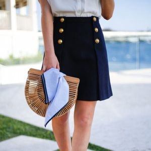 J. Crew Sailor Skirt in Double-Serge Wool